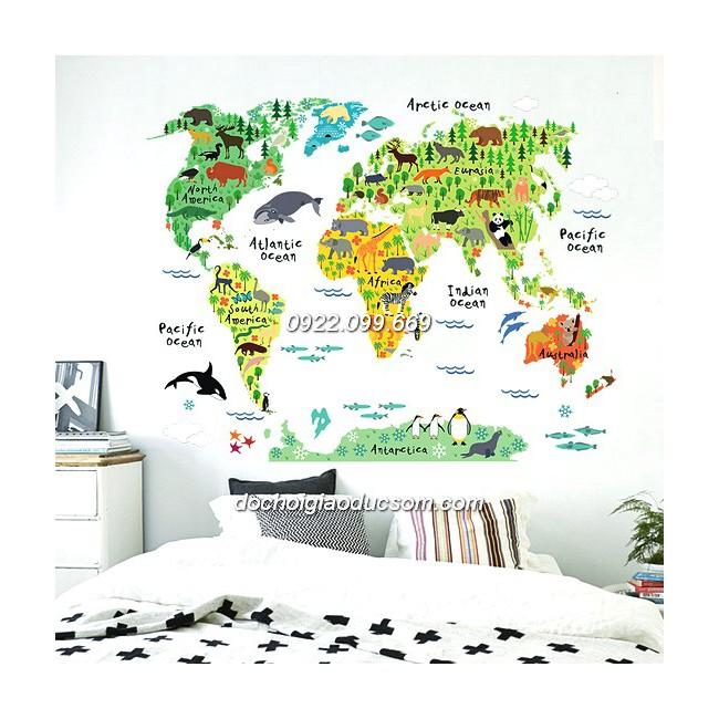 Decal bản đồ thế giới động vật dán tường cho bé mẫu 2 - Tặng 1 bảng decal