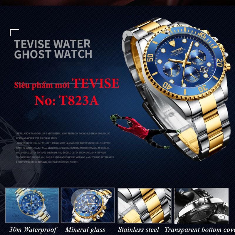 Đồng hồ cơ nam Tevise tọa độ T823A dây thép đúc đặc không gỉ chạy full kim