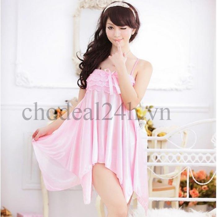 Áo đầm ngủ quyến rũ Angel CDAN03 - Hồng Phấn Phi Thun