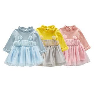 Đầm áo thun gân phối chân váy xòe cho bé