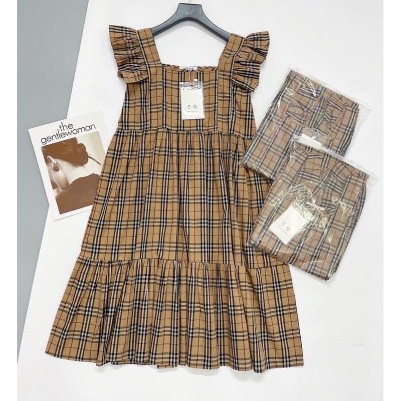 Mặc gì đẹp: Dễ chịu với Váy Bầu Sát Nách Kẻ Caro Cánh Tiên - Đầm Bầu Suông mùa hè mặc đi chơi dễ thương V289