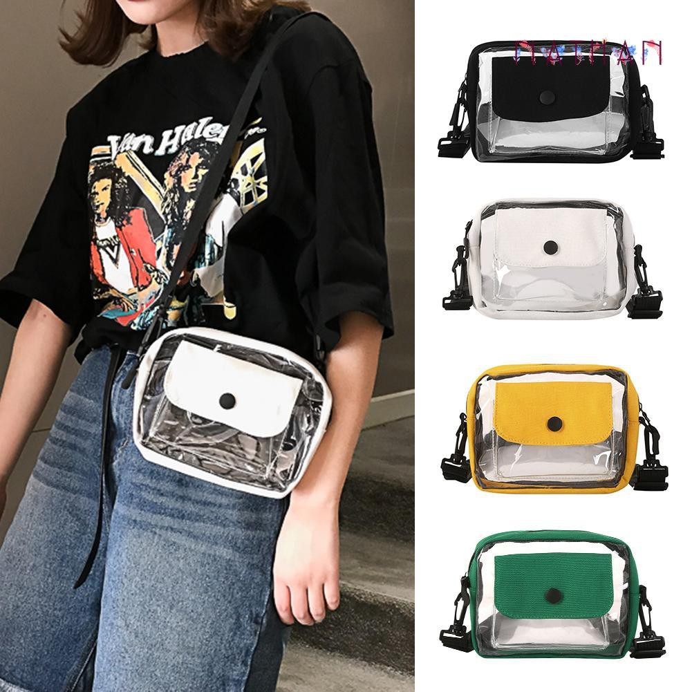 nathan fashion❀Crossbody Women Transparent PVC Canvas Shoulder Bags