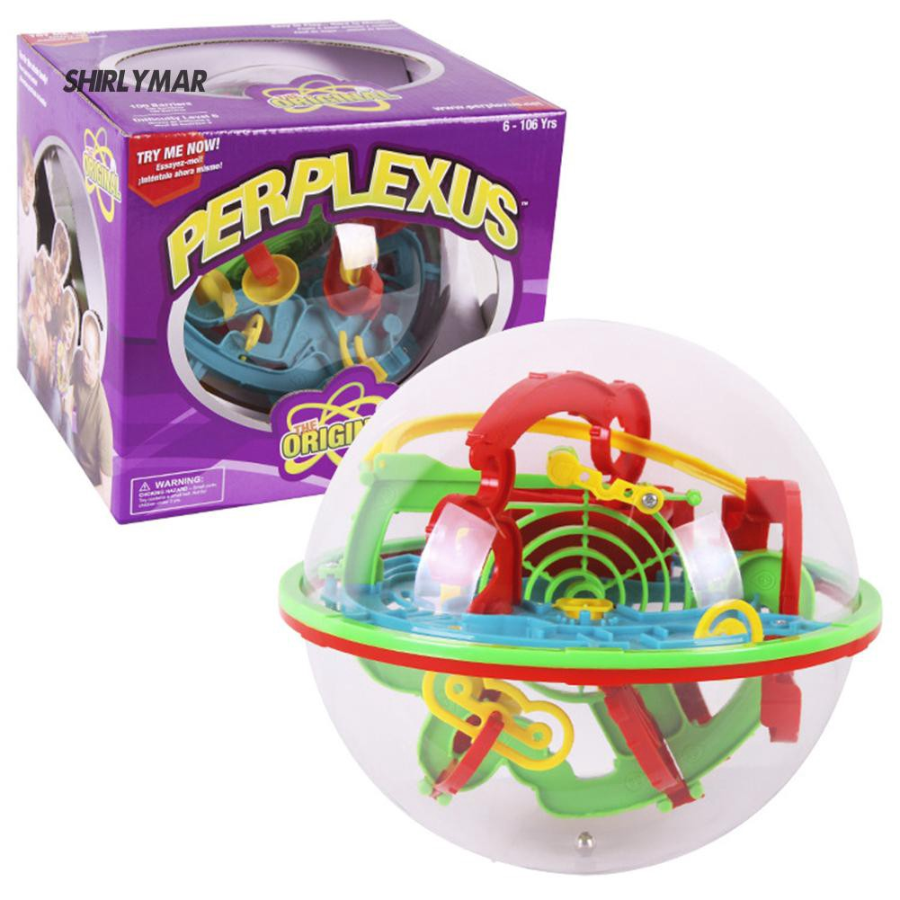 ஐSr Kids Children Education Toy Game 3D Labyrinth Puzzle Ball Obstacles Gift Box