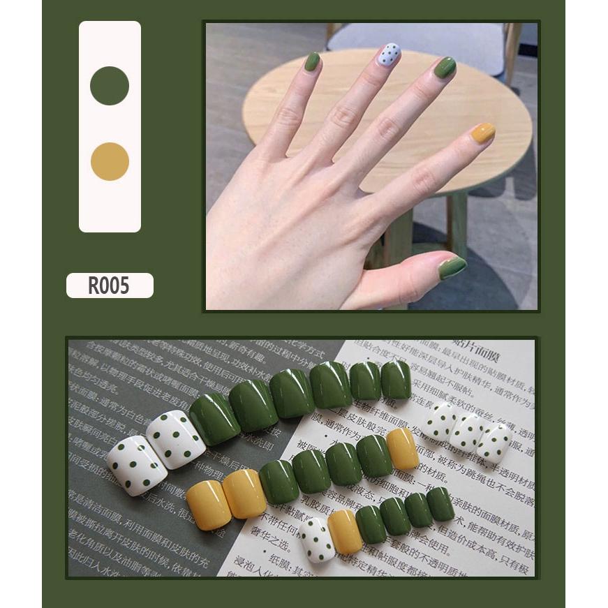 Bộ 24 móng tay giả họa tiết bắt mắt chống thấm nước