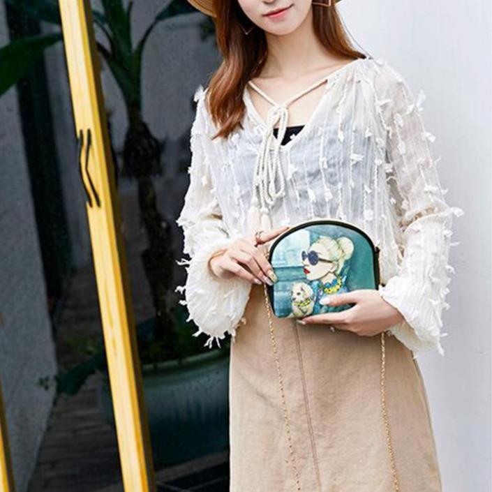 Túi xách nữ dây xích cao cấp da mềm giá rẻ, Túi nữ nhỏ mini đeo chéo kiểu bao tử TXN128-c loại 1