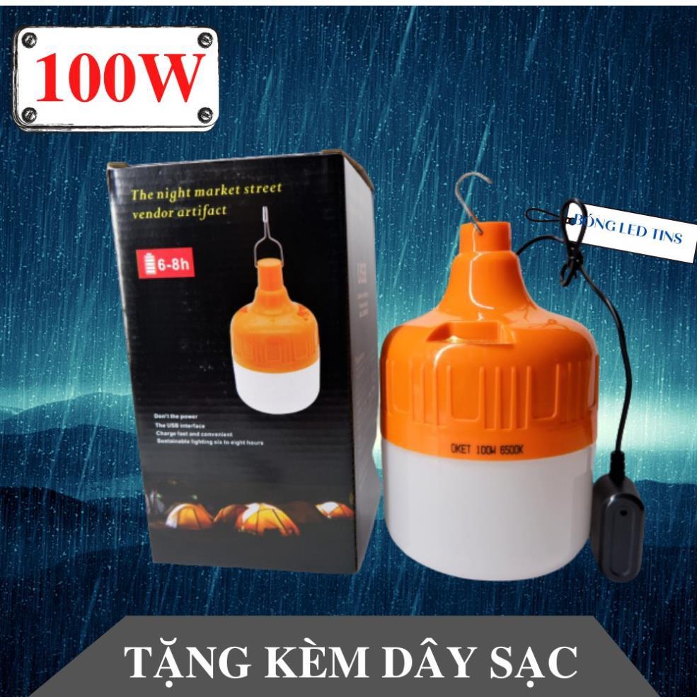 Bóng đèn tích điện 100W hàng chuẩn Đèn led sạc tích điện có móc treo