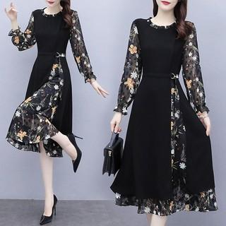 Đầm Voan Hoa Tay Dài Thời Trang Mùa Thu 2020 Cho Nữ