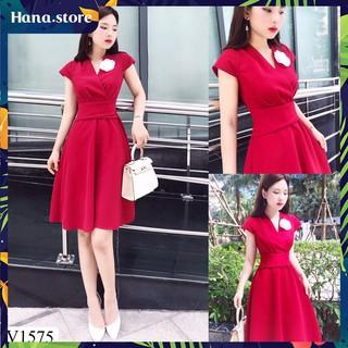 Váy đỏ đai eo kèm hoa, váy đỏ sang trọng thanh lịch – V1575