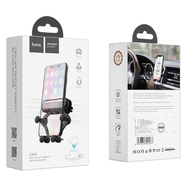Giá đỡ điện thoại Hoco CA51 để cửa gió xe hơi với thiết kế gọn có thể thu nhỏ được
