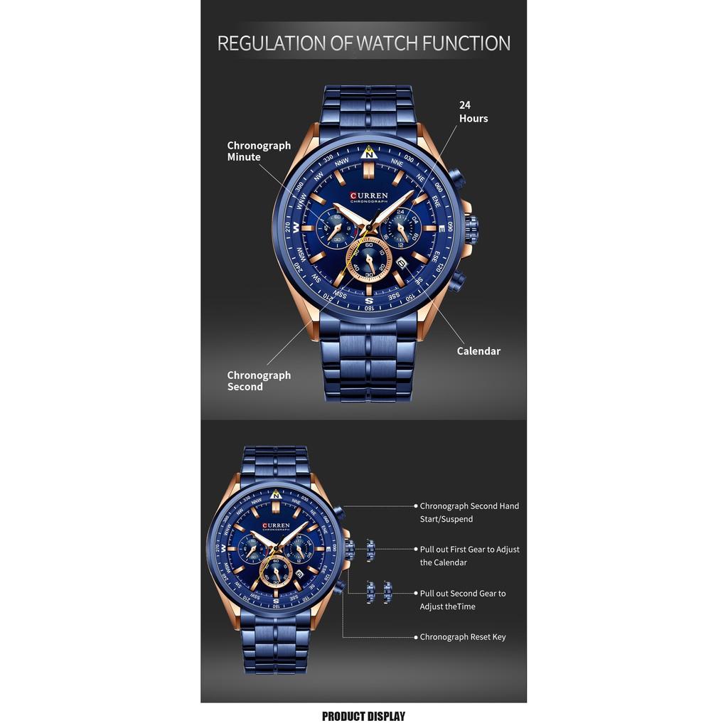 CURREN New Fashion Men Watches Stainless Steel Top Brand Luxury Sports Quartz waterproof 8399B