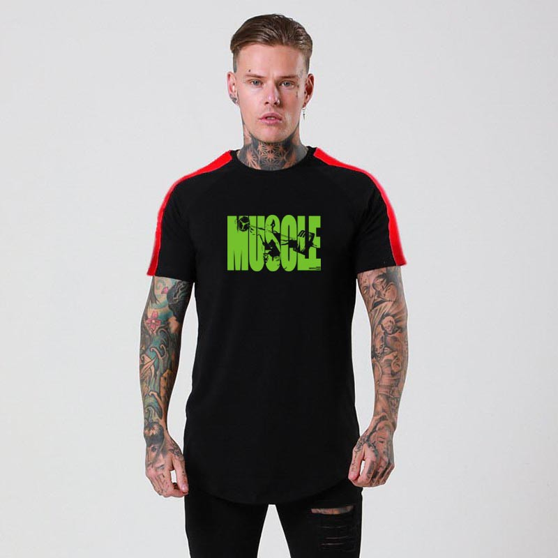 Green Letters Muscle Letter Printed Graphic Tees Oneck Cotton Short Sleeves Top