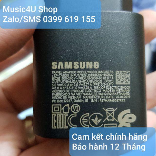 Củ sạc nhanh Samsung EP-TA800 PD 25W Type C (Tương thích ngược 10W, 15W) cho các dòng S và Note [Music4U]