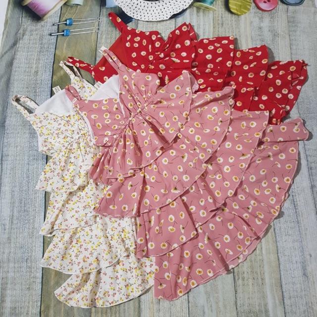 1 lố váy lụa chấm 1-7 và 2 ri váy lụa hoa nhí s/2xl