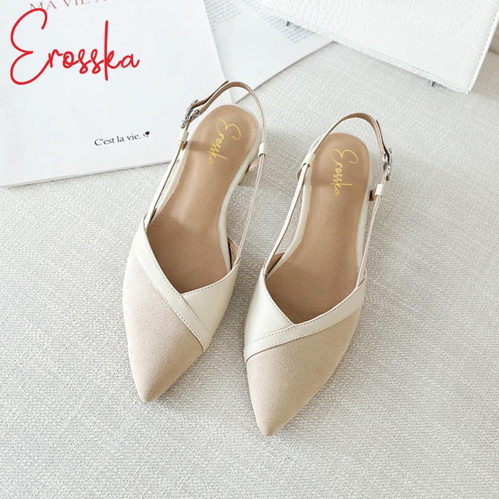 Hình ảnh Giày Sandal Nữ Đế Bệt Mũi Nhọn Thời Trang Erosska EL005 ( Màu Kem)-7