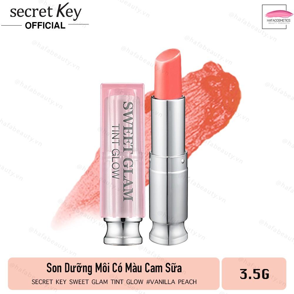 Son dưỡng môi có màu Secret Key Sweet Glam Tint Glow 3.5g Vanilla Peach (Cam sữa)