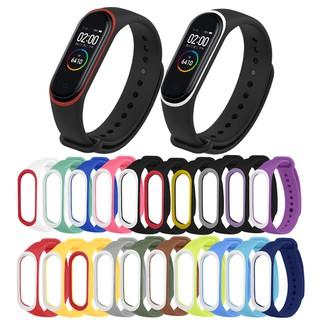 Dây đồng hồ bằng silicon thay thế hai màu trơn tùy chọn cho Xiaomi mi band 4 3 thumbnail