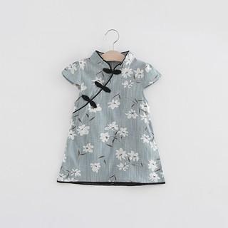 Sườn xám tay ngắn in hoa phong cách Trung Quốc cho bé gái