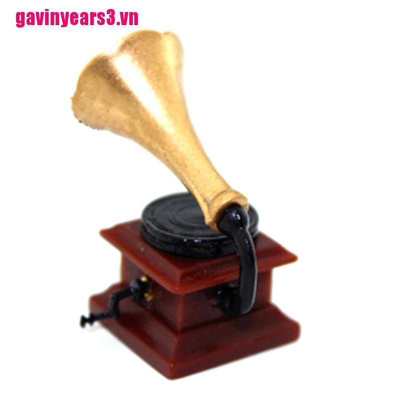 {GAV3}1:12 Miniature retro phonograph dollhouse diy doll house decor accessories