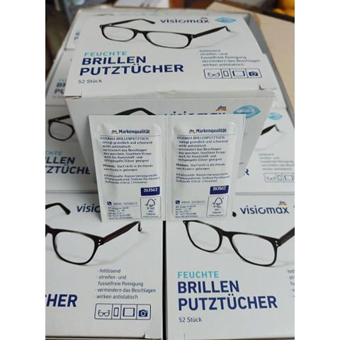 [nguyên hộp 52 tờ] Giấy lau mắt kính Visiomax nội địa Đức