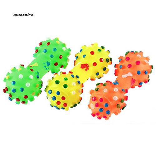 AMA♥Pet Dog Puppy Cat Sound Polka Dot Squeaky Rubber Dumbbell Bone Chewing Toy