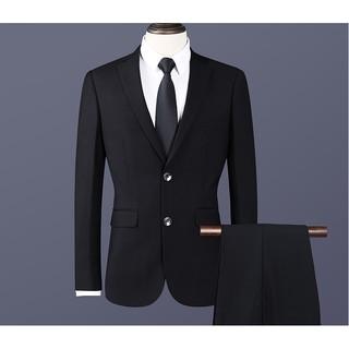Bộ quần áo giả vest màu đen 2 nút trẻ trung có túi áo trong