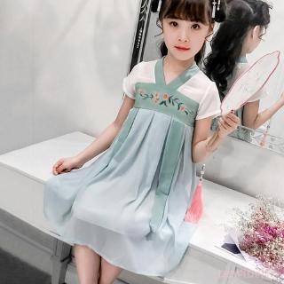 Đầm bé gái thêu hoa cổ xưa phong cách Trung Hoa