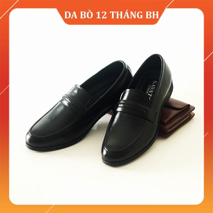 Giày Lười Công Sở [DA BÒ THẬT 100%-TIỀN NÀO CỦA NẤY] Giày lười tăng chiều cao, tặng 2 đôi tất cao cấp, dày dặn