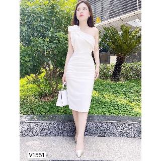 Đầm trắng lệch vai thiết kế sang chảnh V1551_ Đậu Studio [Kèm ảnh thật]