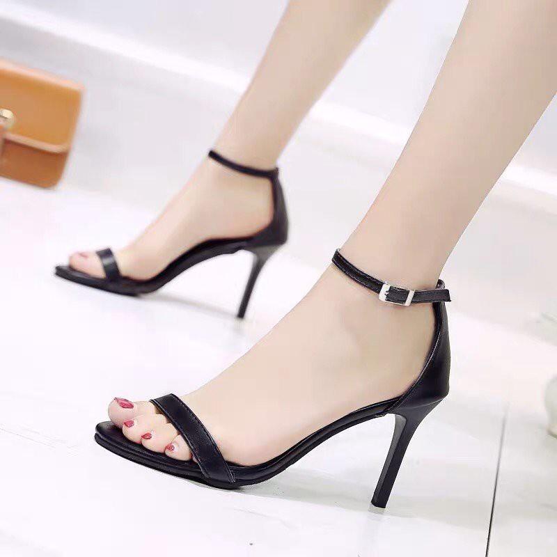 (Bảo hành 12 tháng)Giày sandal cao gót nữ quai ngang cổ điển-Giày nữ da mềm cao 9cm 3 màu Đen-Trắng kem-Nâu- Linus LN286