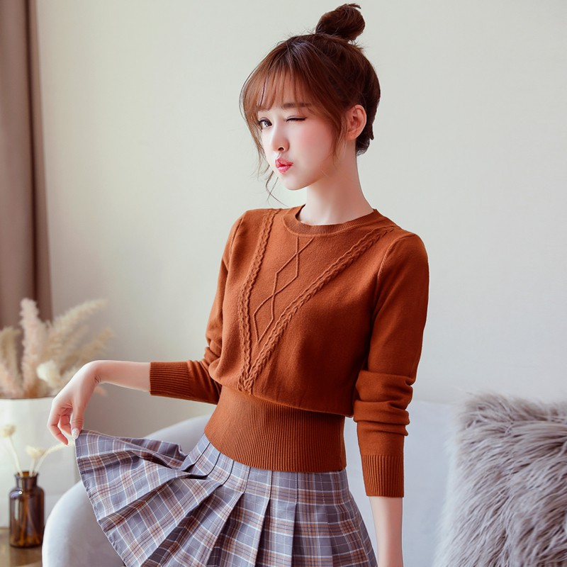 Autumn and winter sweater female short paragraph 2018 new high waist small secti