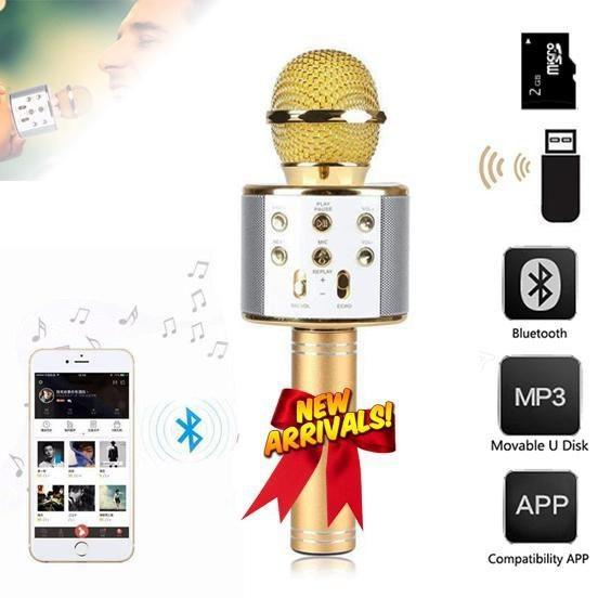 micro karaoke bluetooth WS - 858, WS858 nghe FM, kiêm sạc dự phòng, khe cắm thẻ nhớ, giao màu ngẫu nhiên