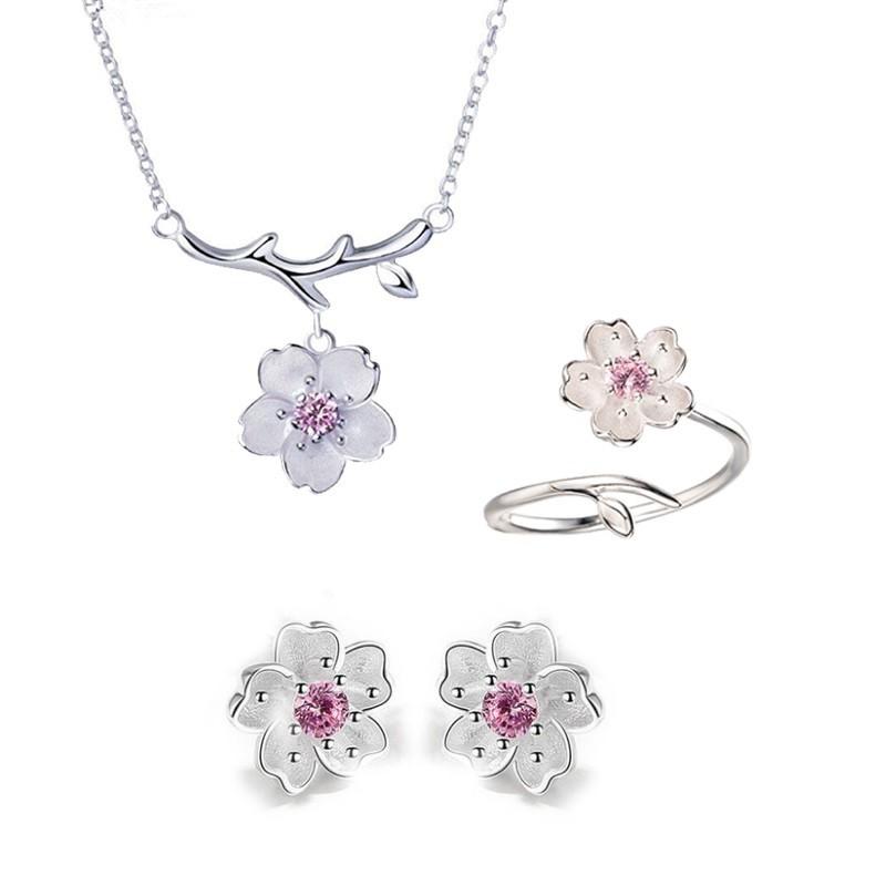 Bộ trang sức Bạc 925 Nữ -30% hoa anh đào nhụy hồng dây chuyền bông tai nhẫn Thời trang Phong cách Nhật Bản