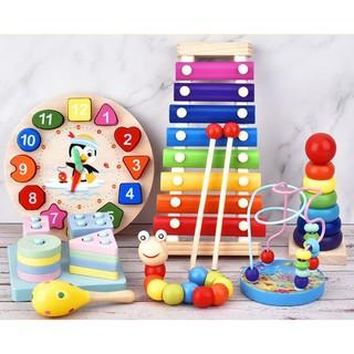 Combo 7 món đồ chơi cho bé phát triển trí tuệ (Đàn gỗ, tháp gỗ, luồn hạt, sâu gỗ, đồng hồ gỗ, thả hình 4 trụ, lục lạc)