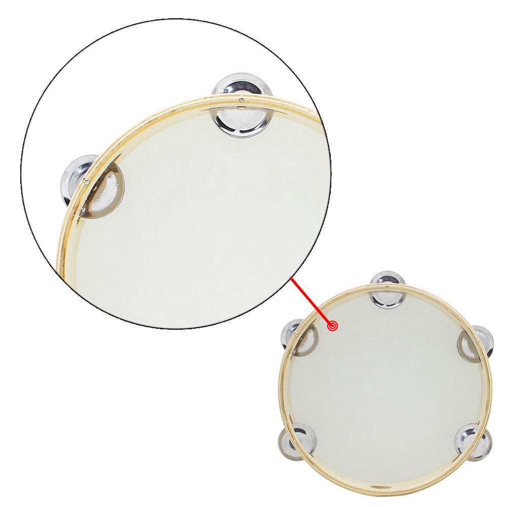 "8"" Musical Tambourine For Kids Round Percussion Hand Held Sheepskin Drumhead Wooden Ring Drum Toy Educational"