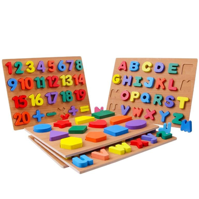 bảng chữ số xếp hình đồ chơi trí tuệ bằng gỗ