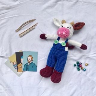 Thú bông – Chú bò từ sợi cotton- Handmade- @bellascrochet_corner