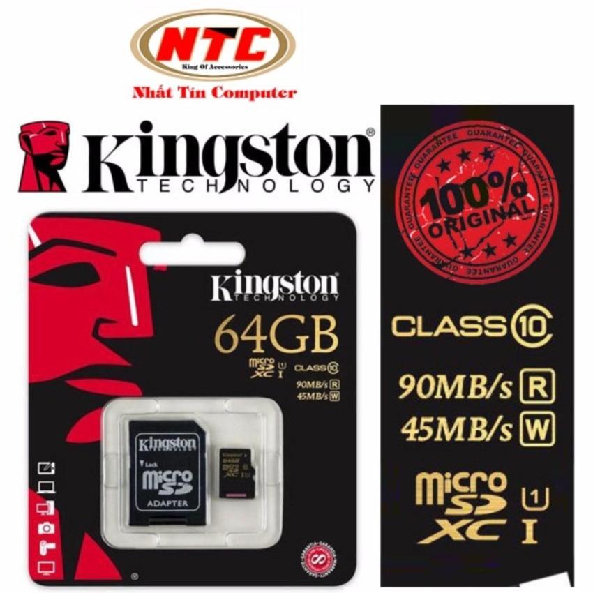 Thẻ Nhớ MicroSDXC Kingston 64GB Class 10 R90MB/s-W45Mb/s kèm adapter (Đen) - 2571709 , 444642977 , 322_444642977 , 719000 , The-Nho-MicroSDXC-Kingston-64GB-Class-10-R90MB-s-W45Mb-s-kem-adapter-Den-322_444642977 , shopee.vn , Thẻ Nhớ MicroSDXC Kingston 64GB Class 10 R90MB/s-W45Mb/s kèm adapter (Đen)