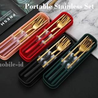 Bộ muỗng nĩa đũa 4 trong 1 bằng thép không gỉ 7.7 (PREMIUM)