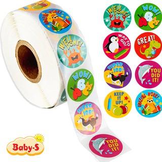 Cuộn 500 sticker nhãn dán khích lệ khen thưởng học tập cho bé yêu với nhiều họa tiết kèm slogan Baby-S SST010 thumbnail