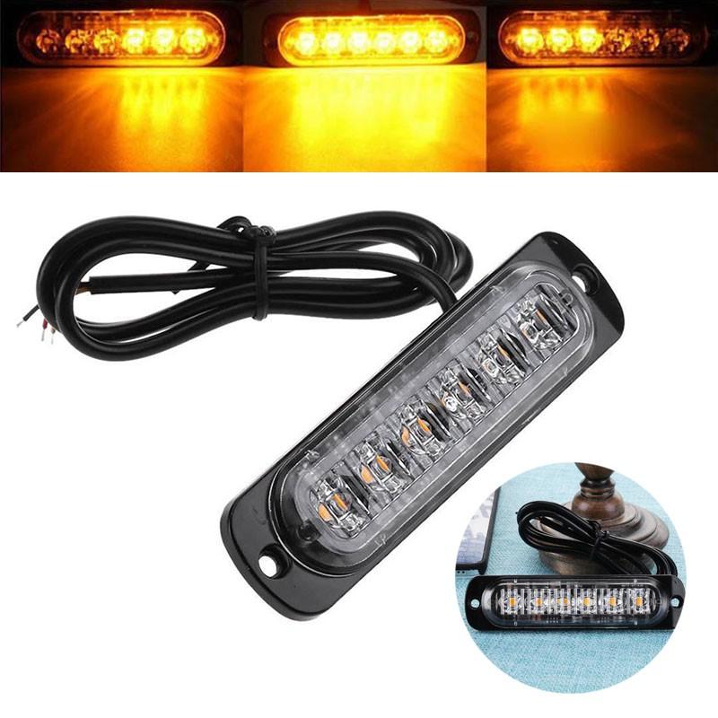 6LED Light Bar Slim Amber Flash Emergency Warning Strobe Car Yellow Lamp Kit 18W