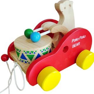 Đồ chơi gỗ Xe kéo đánh trống đỏ Hãng S-Kids