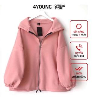 Áo khoác nữ form rộng hàn quốc, áo khoác hoodie nữ form rộng có dây kéo LV24 thumbnail