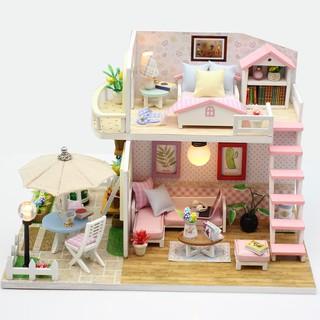 Bộ lắp ráp mô hình nhà gỗ DIY:Căn Nhà Màu Hồng M033-Kèm mica và keo