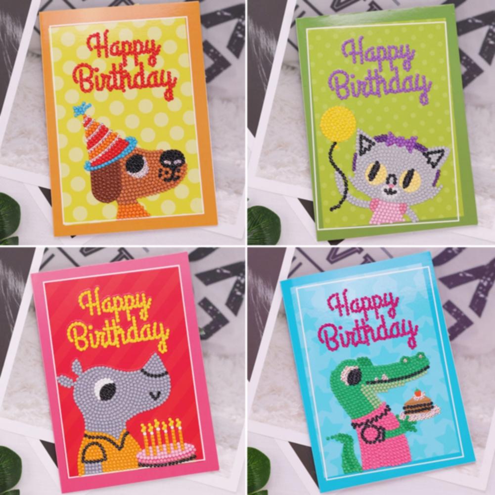 Festival Party Crafts Holiday Happy Birthday DIY Cartoon Full Round Diamond Painting