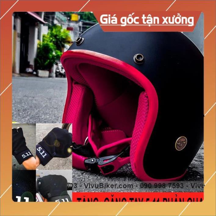 [Giống ảnh] Nón bảo hiểm 3/4 màu đen lót đỏ kèm găng tay 5.11 cao cấp - Mũ bảo hiểm 3/4 nhiều màu sắc