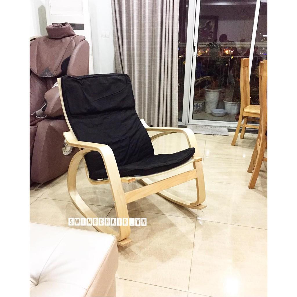 Ghế Bập Bênh Thư GIãn Poang Rocking Chair Khung Gỗ