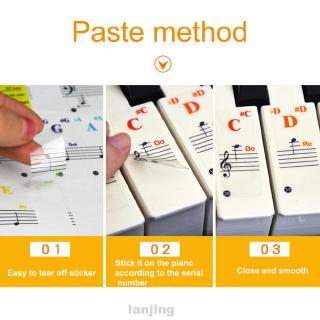 Stave Beginner Note PVC Kids Reusable Musical Accessories Transparent For 88 49 61 Key Piano Keyboard Sticker
