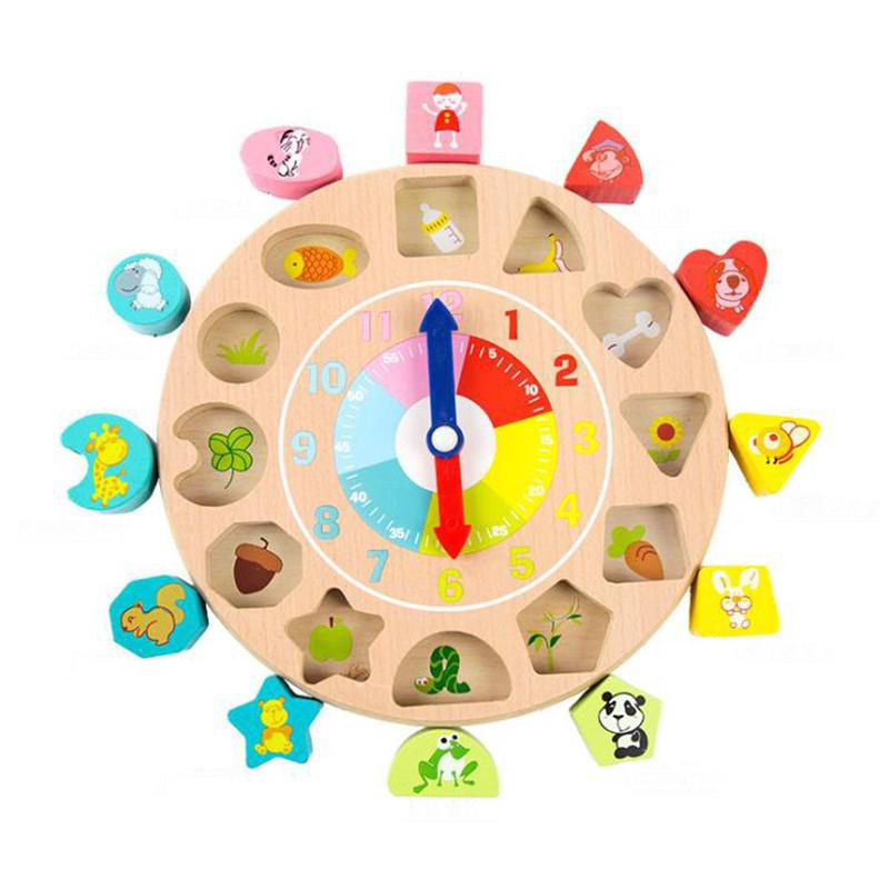 Kids Toy Wooden Shape Cognition Threading Clock Early Education Learning Toys