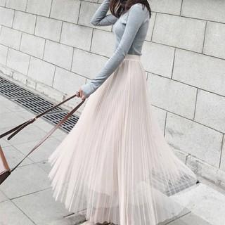 Chân váy dài lưới lưng cao dáng xòe xinh xắn cho nữ