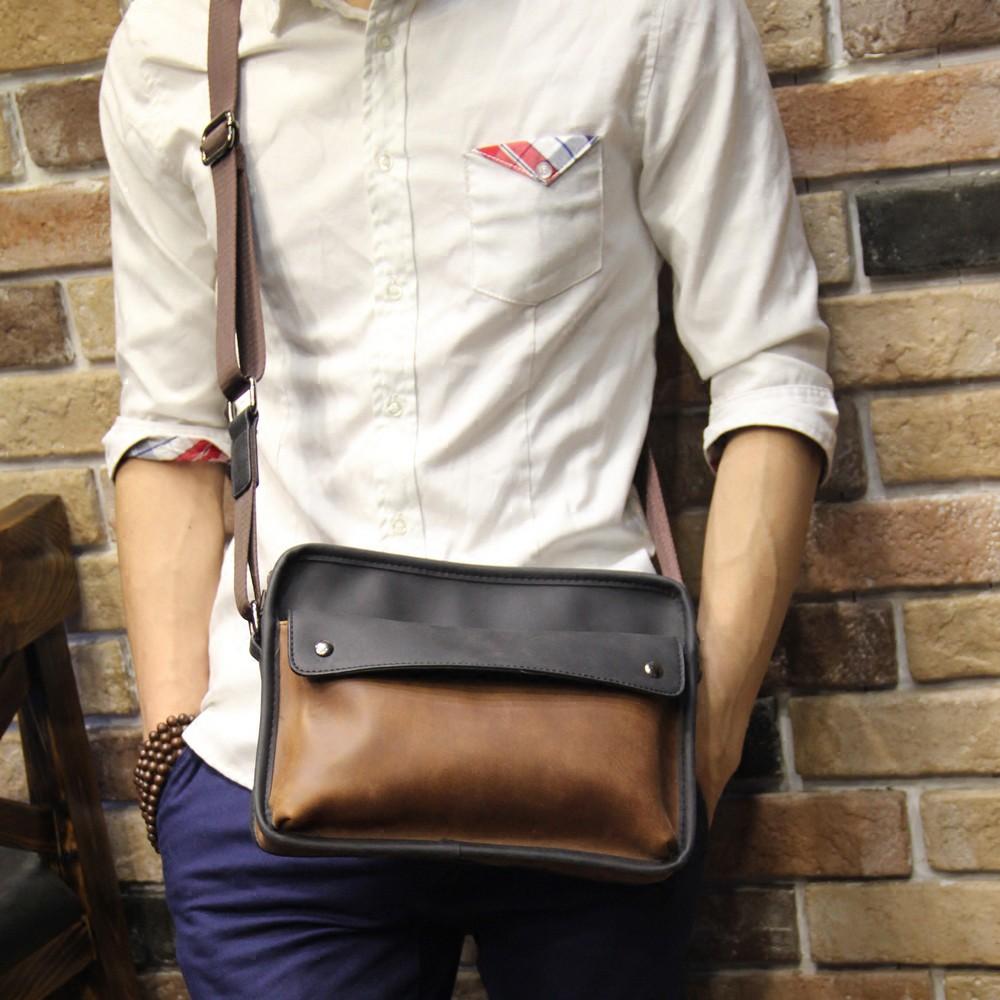 กระเป๋าแบรนด์ Tide ผู้ชายกระเป๋าผู้ชายหนังม้าบ้าไหล่สะพายกระเป๋าสะพายถุงตาดน้ำแบรนด์ย้อนยุคสบาย ๆ เวอร์ชั่นเกาหลีของแนวโ